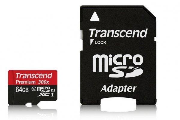 Amazon: Transcend Premium Class 10 microSDXC 64GB mit SD-Adapter für 34,90€