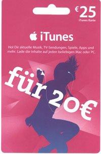 [REWE / Müller] 20% auf iTunes-Karten – 25€ iTunes-Karte für 20€ kaufen