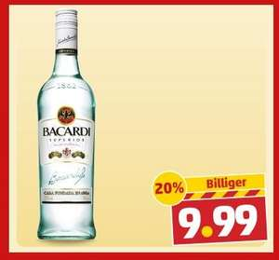 BACARDI superior Weißer rum 37,5% 0,7l bei Penny ab 10.3. für 9,99€