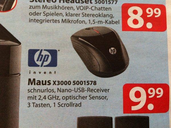 [Famila] HP Maus X3000 (H2C22AA) schnurlos - Ab Montag 10.03.2014