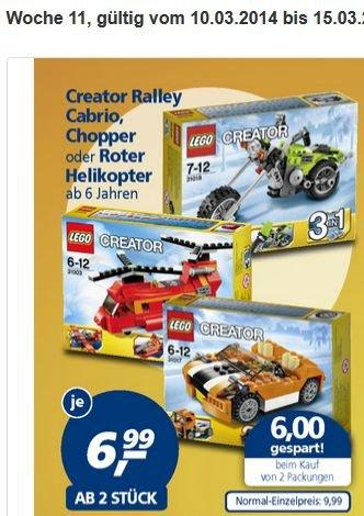[real-Märkte] Lego Creator Chopper, Roter Helikopter oder Ralley Cabrio für 6,99 € ab 2 Stück