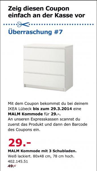 [LOKAL Lübeck] Malm Kommode mit 3 Schubladen (weiß) für 29€ mit Coupon
