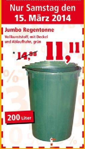 Regentonne ( 200 Liter) mit Auslaufhahn und Deckel für 11,11 € bei Thomas Philipps - NUR am 15.03.
