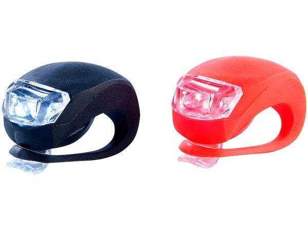 Lunartec Mobiles LED-Fahrradleuchten-Set 2-tlg. mit Silikon-Gehäuse