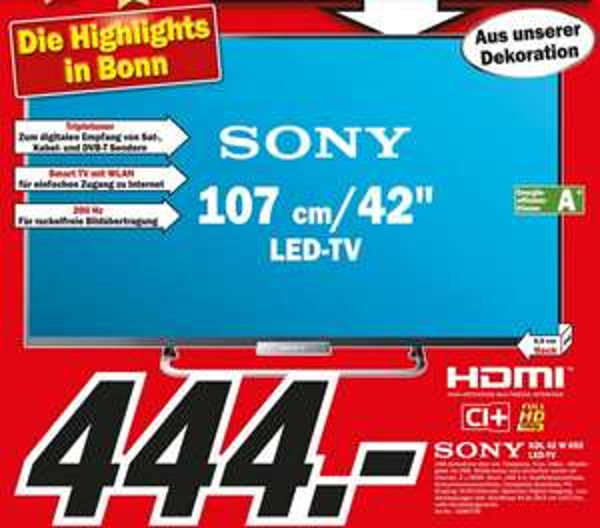 Sony KDL-42W655 für 444€ Lokal [Mediamarkt Bonn]