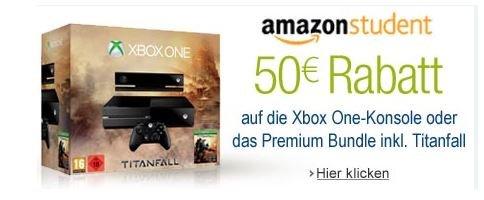 Amazon Student - 50 Euro sparen beim Kauf der Xbox One oder das Xbox One Titanfall Bundle