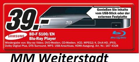[LOKAL MM Weiterstadt ] Samsung BD-F5100/EN Smart Blu-ray Player für 39€