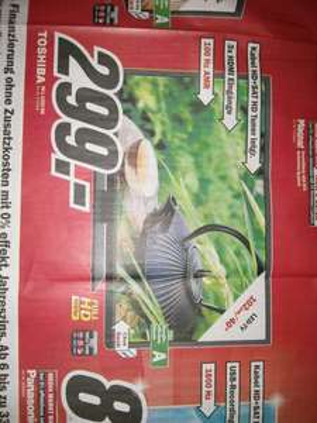 [MM Bruchsal]  Toshiba 40l1343Dg,  40 Zoll Full-hd TV, triple Tuner, 100hz! Lokal !