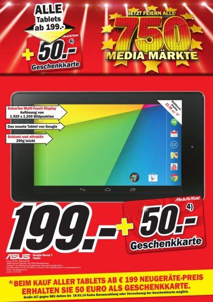 [Lokal Hamburg]Media Markt Nexus 7 Wifi 16 GB + 50 € Media Markt Gutschein