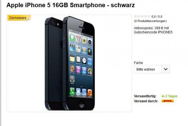 Iphone 5 16 GB Vorführgeräte schwarz und weiß @Meinpaket (Kontra)