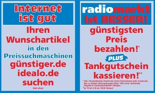 [Lokal] Radiomarkt GE: idealo u. guenstiger.de Preis inkl. Versandkosten plus Tankgutschein