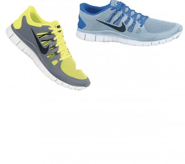 Nike Free 5.0+ Running in Blau oder Grau/Gelb (bis zu 20€ unter idealo Preis!)