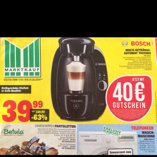 [Marktkauf] Tassimo TAS 2002 39,99€ inclusive 40€ Gutschein