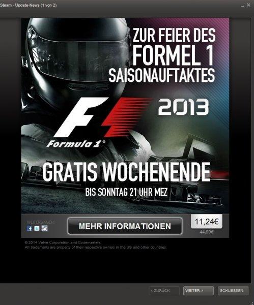 [Steam] Formel 1 2013 (11,24 €)
