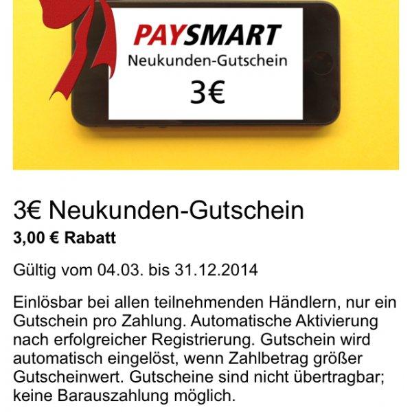 3 € Neukunden Gutschein Paysmart App Köln / Bonn
