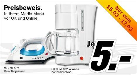 [MM Online/Offline] Dampfbügeleisen + Kaffeemaschine je 5€ inkl. Versand