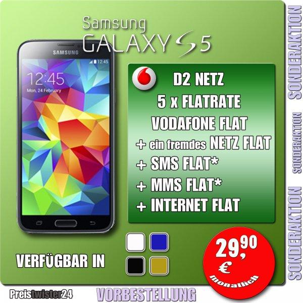 Galaxy S5 für 1€ im Flat 4 You Vertrag für 29,90 pro Monat! Ergibt 717€
