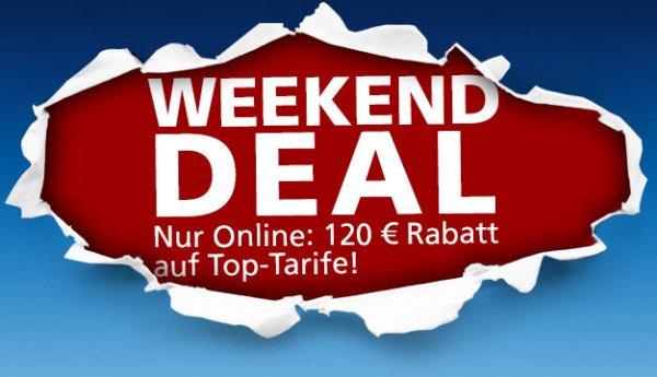 o2 Weekend Deal - 120€ Rabatt auf die Top-Tarife