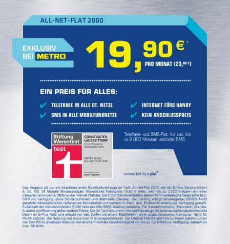 """Internet Flat, SMS und Allnet """"Flat"""" für 23,68 €/Monat"""