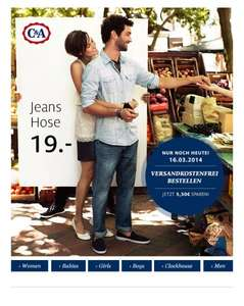 Nur noch heute: Jeans versandkostenfrei bestellen @ C&A online!