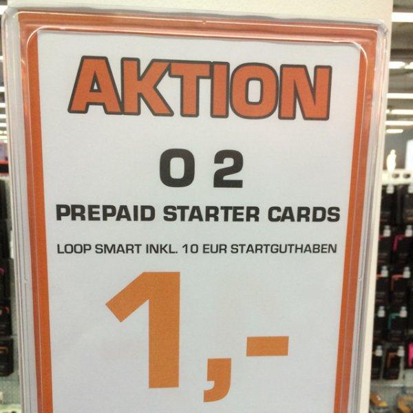 Saturn Köln o2 Loop Prepaidkarte für 1€ inkl. 10€ Guthaben