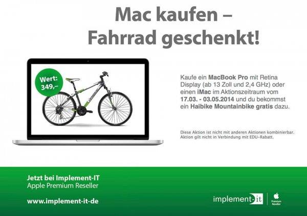 [Lokal] MacBook Pro Retina bei implement-IT kaufen und Haibike Mountainbike im Wert von etwa 245€ gratis dazu bekommen