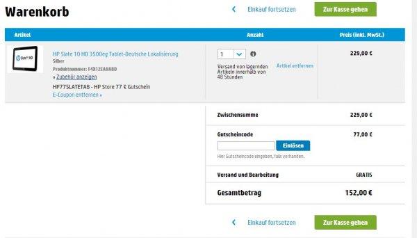 HP Slate 10 HD 3500eg im HP Friends Store für 152.- Versandkostenfrei