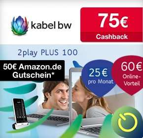 Kabel BW 100 Mbit/s 2play PLUS 100 mit 60€ Startguthaben, 50€ Amazon.de-Gutschein,2 Gratis Monaten und 75€ Cashback