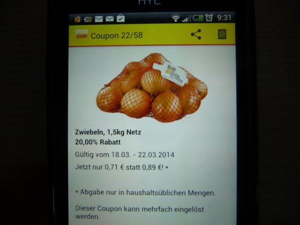 Netto Marken-Discount Zwiebeln 1,5 Kg  71Cent  vom 18.3 -22.3 mit Coupon aus der App