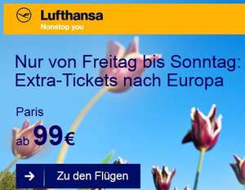Flüge: Lufthansa Aktion Europatickets ab 99,- € hin/rück (Mai - Juli)