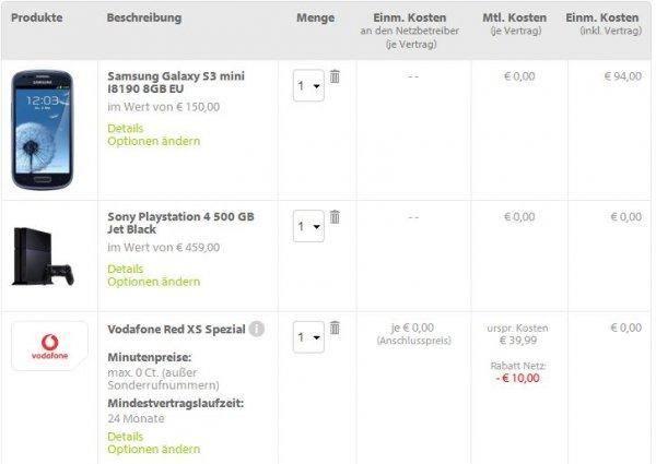 PS4 500GB + Samsung S3 mini im Vodafone XS Vertrag