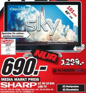 "Media Markt Flensburg: Sharp LC-40LE924E für 690€ - 40"" Full-HD LED-TV, Tripple-HD-Tuner, WLAN, Timeshift!"