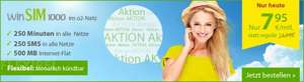 Aktion Heute  WinSIM1000 7,95€mtl oder WinSIM FLAT M 16,95€mtl (monatlich kündbar)
