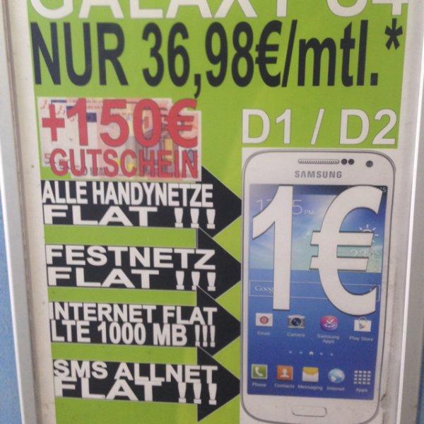 Samsung S4 Allnet flat + 150€ Gutschein