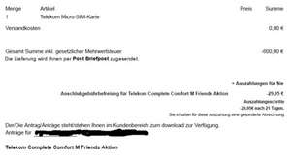 Original Telekom Complete Comfort M Friends + Normalos (10,78€/11,62€ p. Monat)