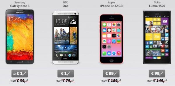 Weekend deal @ sparhandy: Apple iPhone 5c für 89€ oder NOKIA Lumia 1520 für 99€ mit dem MoWo Tel easy Vertrag monatl. 14,95€