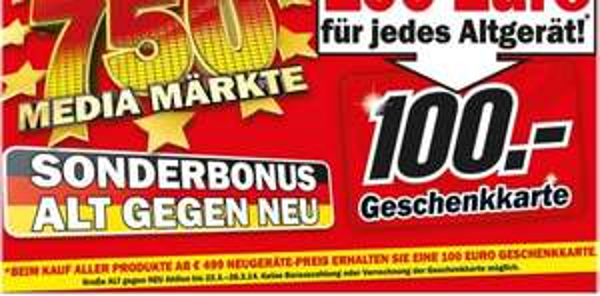 MediaMarkt bei Produkt von 499€ 100€ Einkaufsgutschein
