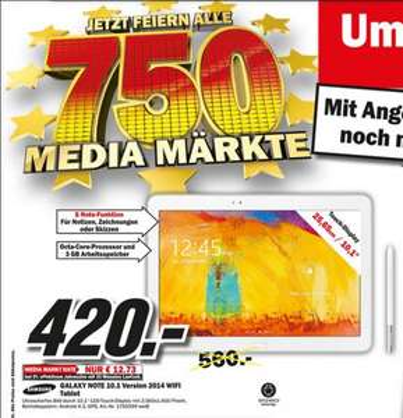 """Samsung Galaxy Note 10.1 2014 edition WiFi 420€ Lokal """"Verkaufsoffener Sonntag 13-18Uhr [Mediamarkt Gütersloh]"""