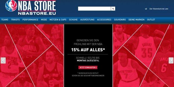 15% Rabatt auf viele Artikel im NBA Europe Store