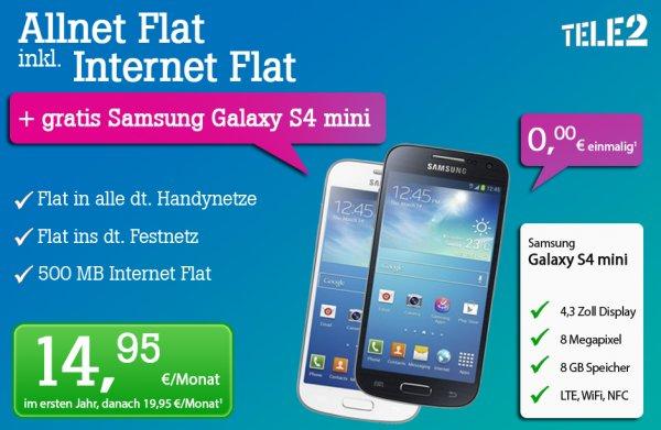 Tele 2 Allnet Flat inkl. Internet Flat + Samsung i9195 Galaxy S4 mini für 17,95€ monatlich von Tophandy