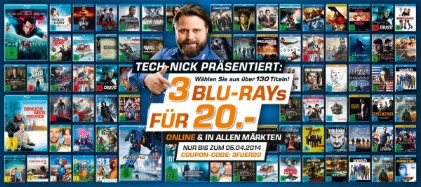 Saturn On & Offline 3 für 20 € Blu Ray - Auswahl aus über 130 Filme ( Geht nun los 26.03)