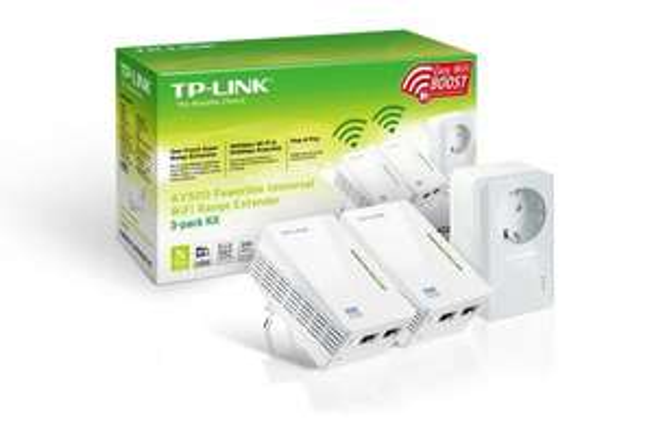 """TP-Link™ - 3er-Set WLAN-N Powerline-Netzwerkadapter """"TL-WPA4226T"""" (500/300 Mbps,integrierte Steckdose) für €99.- [@Amazon.de]"""