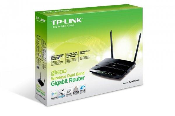 """TP-Link™ - Wireless Dual Band Gigabit Router """"WDR3600 N600"""" (2,4&5GHz,600Mbps,2xUSB 2.0) für €44,90 [@Amazon.de]"""