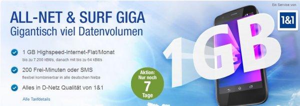 1&1 Allnet & Surf Giga Tarif (1GB Highspeed Volumen+200 EInheiten) im D-Netz für 9,99€/monatlich
