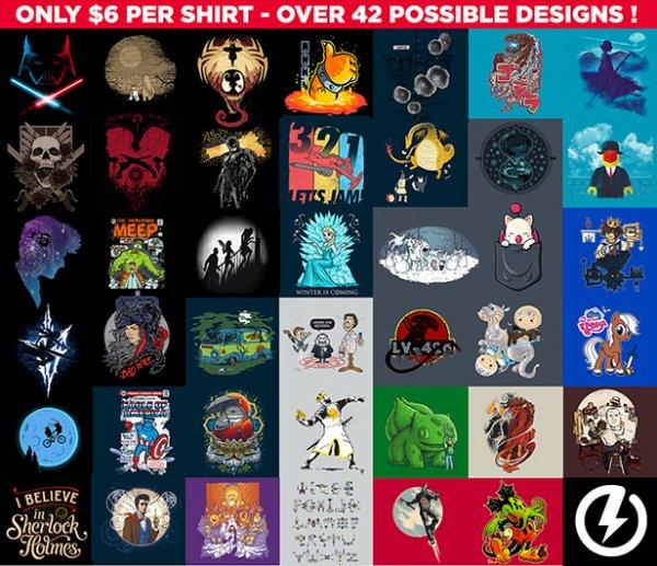 Pop & Nerdige Geekige Mash up T-Shirts im Grab Bag Sale $6 über 42 Designs