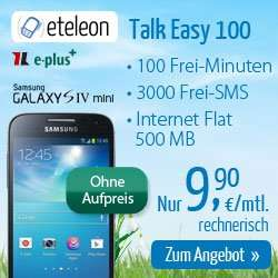 Samsung Galaxy S3 oder S4 mini + Internet Flat + 3000 SMS + 100 min nur 9,90€ im Monat
