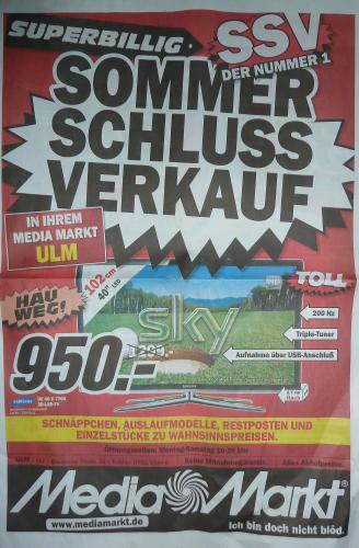 [Lokal] Mediamarkt Ulm SSV: Ipod Shuffle 30€ uvm.. (Restposten, Auslaufmodelle etc.)