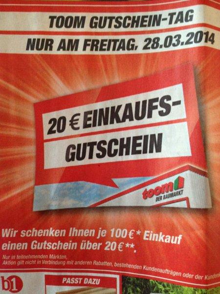 Toom-Baumarkt Gutschein Tag 28.03.2014 (Lokal Toom-Baumärkte Norddeutschland)