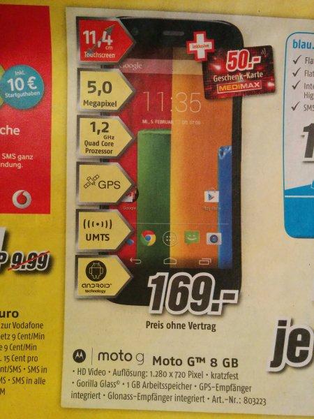 [lokal?] Motorola Moto G / 8GB - ohne Simlock + 50€ Geschenkkarte @medimax