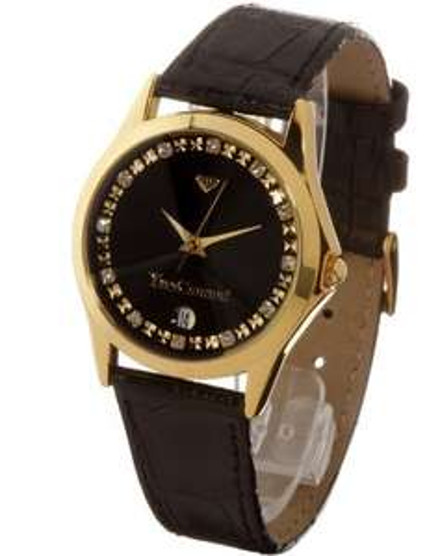 [Amazon] Yves Camani Damen-Armbanduhr Golden Twinkle Schwarz Analog Quarz 302-GSG